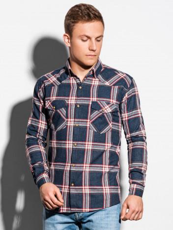Pánská kostkovaná košile s dlouhým rukávem Kevon tmavě modrá