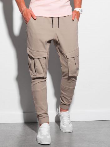 Ombre Clothing Pánské jogger kalhoty Beauden béžové