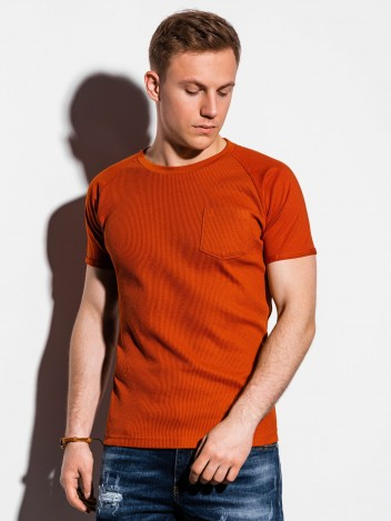 Ombre Clothing Pánské basic tričko Henshaw cihlové