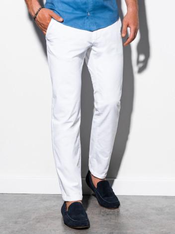 Ombre Clothing Pánské chinos kalhoty Ellis bílá
