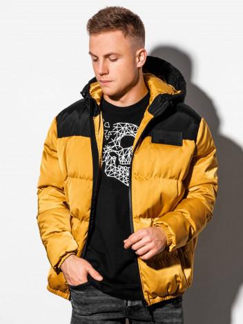 Pánská zimní prošívaná bunda Ryjel žlutá