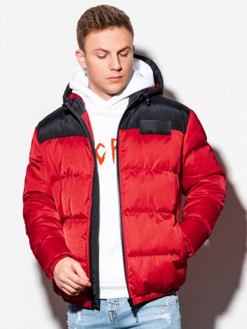 Pánská zimní prošívaná bunda Ryjel červená