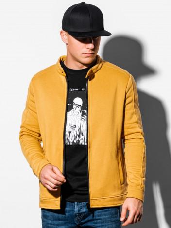 Ombre Clothing Pánská mikina na zip Matteo žlutá