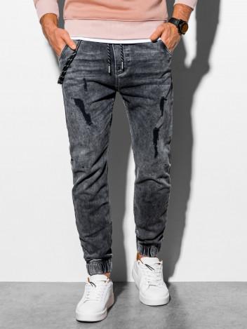 Pánské džínové jogger kalhoty Leslaw tmavě šedá