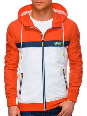 Ombre Clothing Pánská přechodová bunda Firenze bílo-oranžová