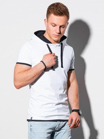 Ombre Clothing Pánské basic tričko s kapucí Ingeborg bílá