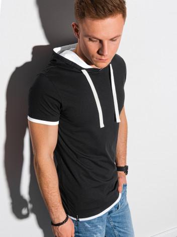 Ombre Clothing Pánské basic tričko s kapucí Ingeborg černá