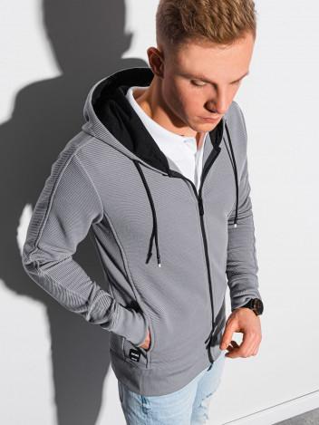 Pánská mikina na zip s kapucí Blend šedá