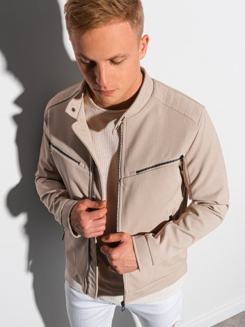 Ombre Clothing Pánská prošívaná přechodová bunda Vilmo béžová