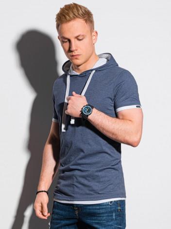 Ombre Clothing Pánské basic tričko s kapucí Ingeborg modrá-melanžová
