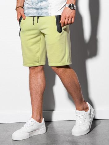 Ombre Clothing Pánské teplákové kraťasy Roux limetkově zelená