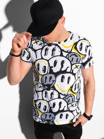 Pánské tričko s potiskem Hakon bílo-žlutá
