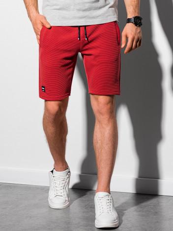 Ombre Clothing Pánské teplákové kraťasy Evert červená