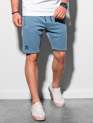 Ombre Clothing Pánské teplákové kraťasy Evert modrá
