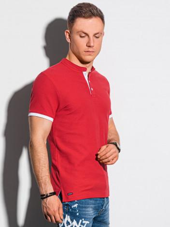 Ombre Clothing Pánské basic polo tričko Rosa červená