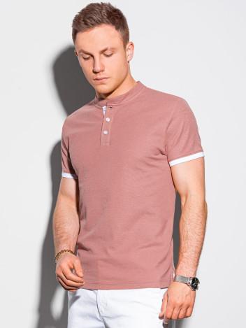 Ombre Clothing Pánské basic polo tričko Rosa růžová
