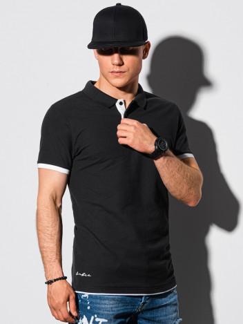 Ombre Clothing Pánské basic polo tričko Aron černá