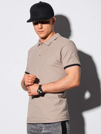 Pánské basic polo tričko Aron světle hnědá
