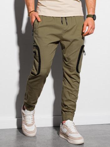 Ombre Clothing Pánské jogger kalhoty Kristit olivová