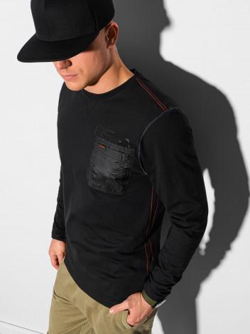 Ombre Clothing Pánské tričko s potiskem a dlouhým rukávem Madeleine černá