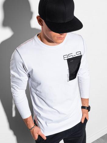 Ombre Clothing Pánské tričko s potiskem a dlouhým rukávem Madeleine bílá