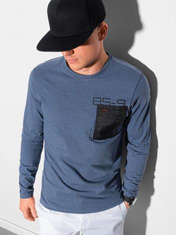 Ombre Clothing Pánské tričko s potiskem a dlouhým rukávem Madeleine tmavě modrá