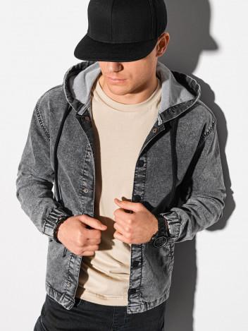 Ombre Clothing Pánská džínová bunda Silvia šedá