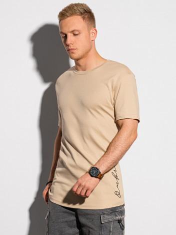 Ombre Clothing Pánské tričko s potiskem Gustav béžová