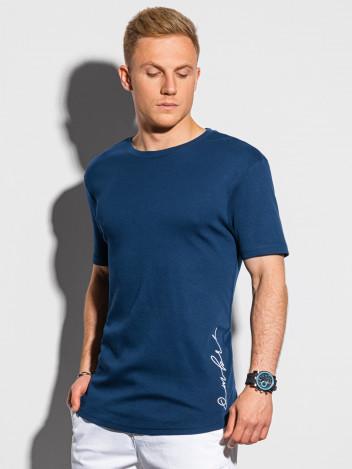 Ombre Clothing Pánské tričko s potiskem Gustav navy