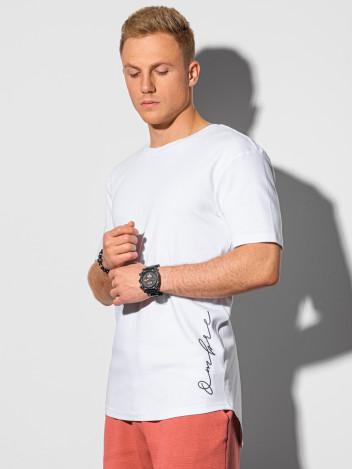 Ombre Clothing Pánské tričko s potiskem Gustav bílá