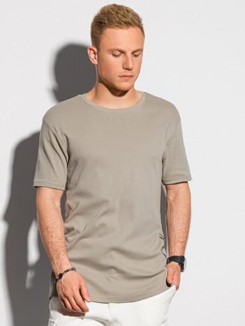 Ombre Clothing Pánské tričko s potiskem Gustav hnědá