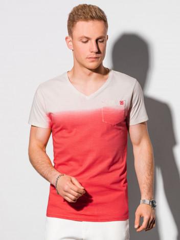 Ombre Clothing Pánské basic tričko Evald červená