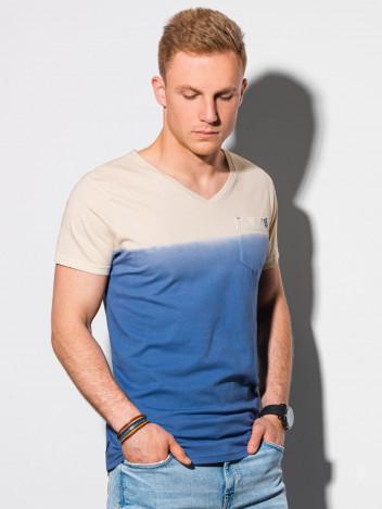 Ombre Clothing Pánské basic tričko Evald tmavě modrá