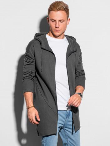Ombre Clothing Pánská mikina na zip Tryggve tmavě šedá