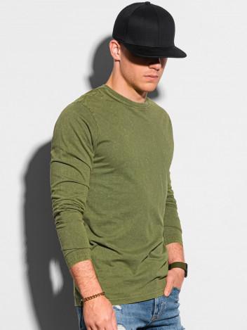 Ombre Clothing Pánské basic tričko s dlouhým rukávem Konrad olivová