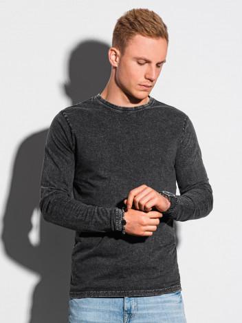 Ombre Clothing Pánské basic tričko s dlouhým rukávem Konrad černá
