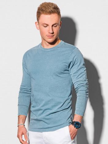 Ombre Clothing Pánské basic tričko s dlouhým rukávem Konrad světle modrá