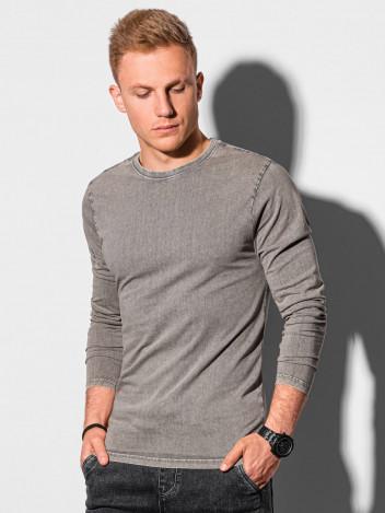 Ombre Clothing Pánské basic tričko s dlouhým rukávem Konrad světle hnědá