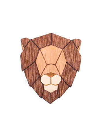 Dřevěná brož Lion hnědá