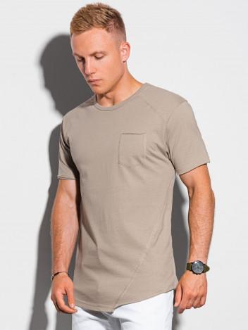 Ombre Clothing Pánské basic tričko Leopold hnědá