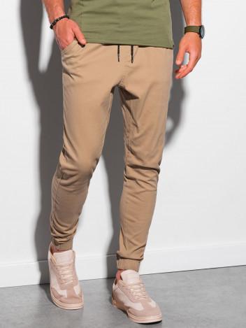 Ombre Clothing Pánské jogger kalhoty Jordie camel