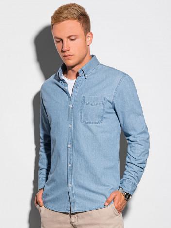 Ombre Clothing Pánská košile s dlouhým rukávem Klemens modrá
