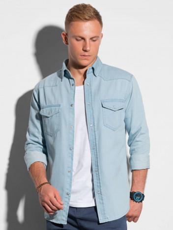 Ombre Clothing Pánská košile s dlouhým rukávem Annak světle modrá