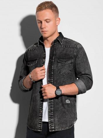 Ombre Clothing Pánská košile s dlouhým rukávem Annak černá