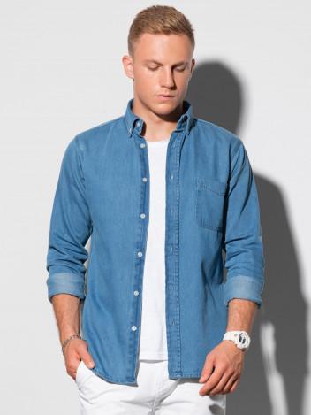Ombre Clothing Pánská košile s dlouhým rukávem Virginia modrá