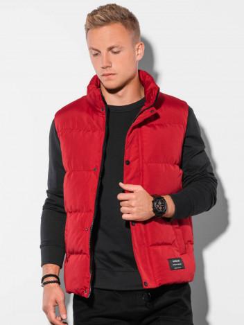 Ombre Clothing Pánská prošívaná vesta Heribert červená