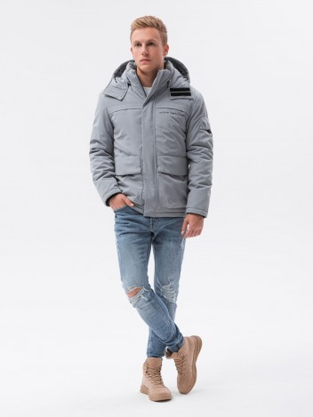 Ombre Clothing Pánská zimní reflexní bunda Jessik šedá