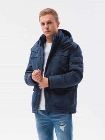 Ombre Clothing Pánská zimní prošívaná bunda Jessik tmavě modrá