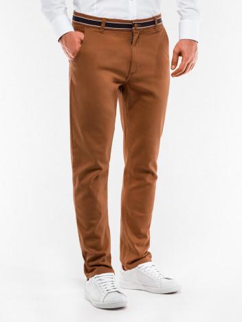 Ombre Clothing Pánské trendy hnědé chino kalhoty Orlando