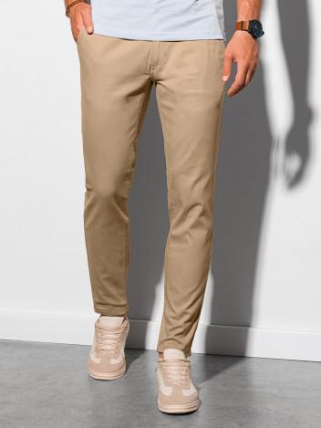 Ombre Clothing Pánské chinos kalhoty Daedalus béžové